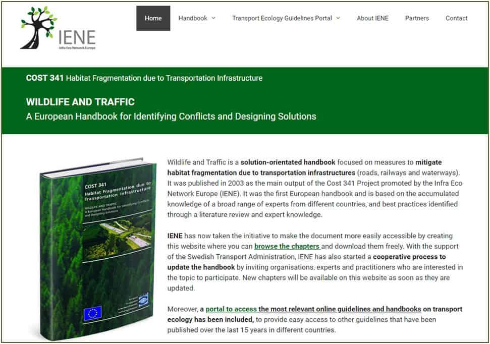 Creació de la web sobre el manual europeu 'Wildlife and Traffic' i la seva actualització
